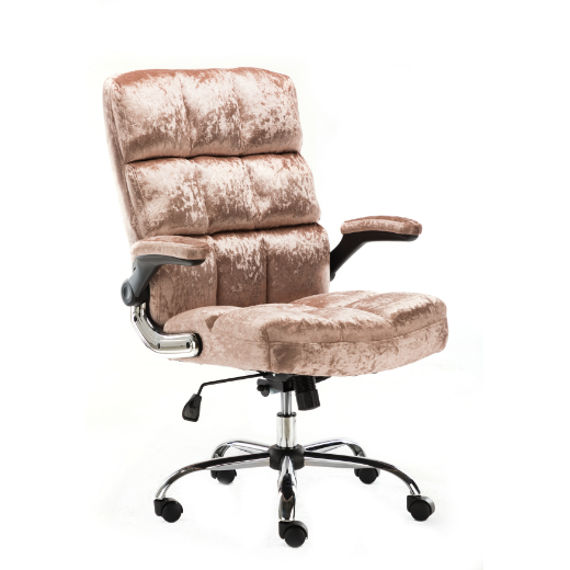 UPHOLSTERED FABRIC LUXURY OFFICE CHAIR - METALLIC DUST ROSE