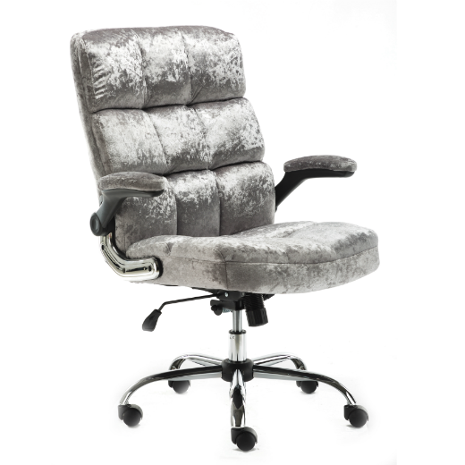 UPHOLSTERED FABRIC LUXURY OFFICE CHAIR - METALLIC SILVER