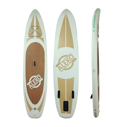 INFLATABLE PADDLE BOARD WITH CARRY BAG - WOOD GRAIN