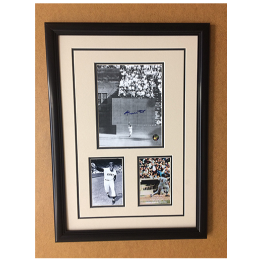 "Willie Mays "" The Catch "" Commemorative 3-Photo Collage, Authentic Signature"