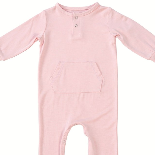 Piped Romper with Front Pocket - Pink