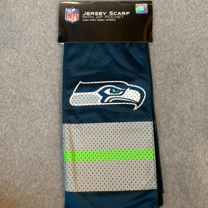 Seattle Seahawks Jersey Scarf With Pocket - Blue, Grey & Green