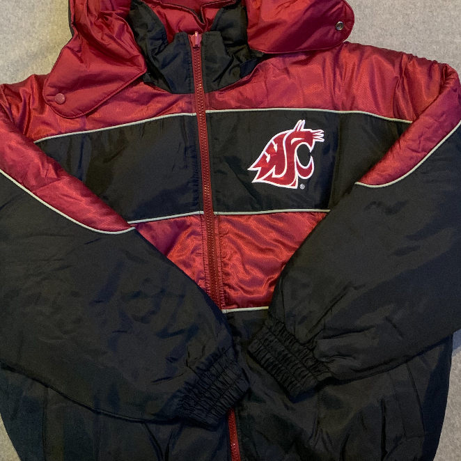 WSU Cougars Reversible Puffy Jacket, Size Large - Crimson & Black