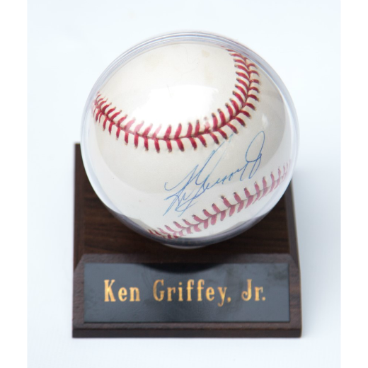 Autographed Ken Griffey Jr Baseball with Descriptive Plaque