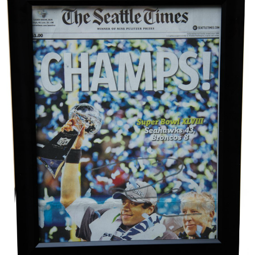 Autographed Russell Wilson Front Page of Seattle Times