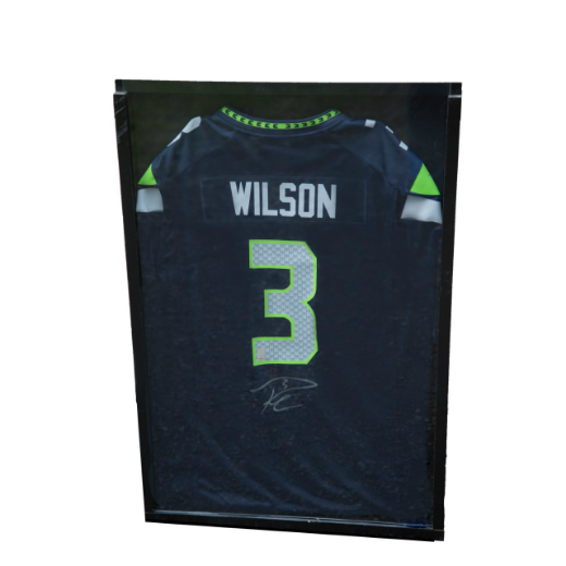 Autographed Russell Wilson Jersey in Large Jersey Case