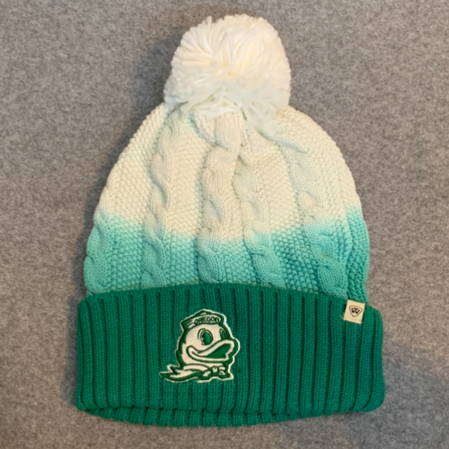 Oregon Ducks Pom Pom Beanie Hat - Green & White Ombre