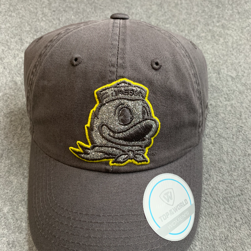 Women's Oregon Ducks Glitter Logo Ball Cap - Grey, Adjustable