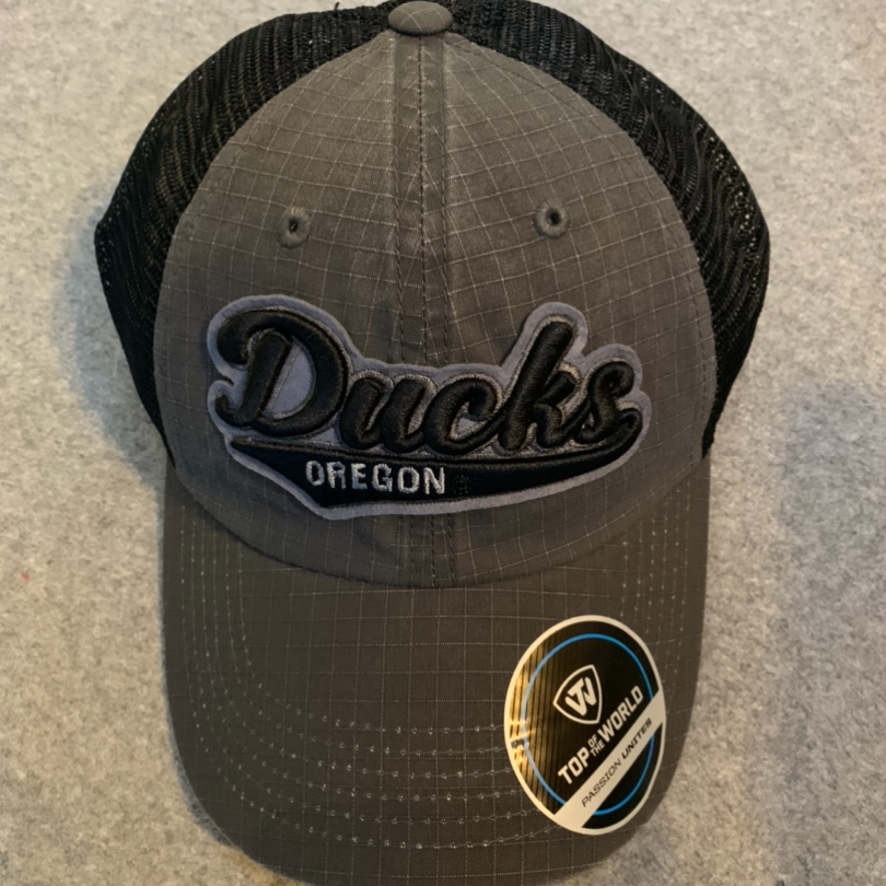 Oregon Ducks Ball Cap - Dark Grey & Black Back, Adjustable