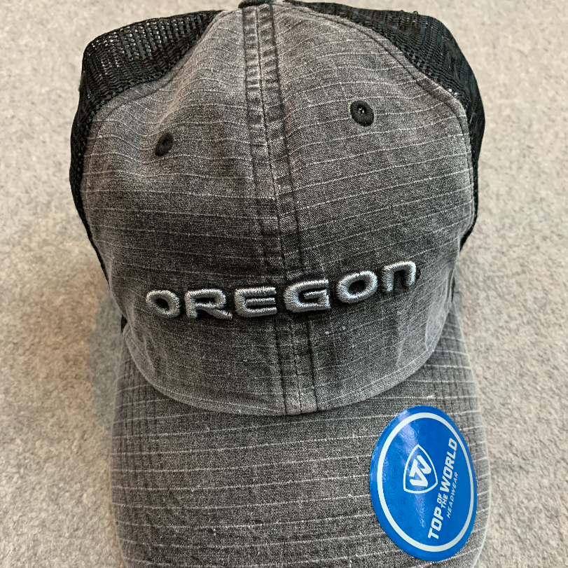 Oregon Ducks Ball Cap - Distressed Grey & Black Back, Adjustable