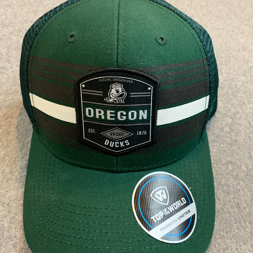 Oregon Ducks Logo Ball Cap - Dark Green With White & Black Stripes