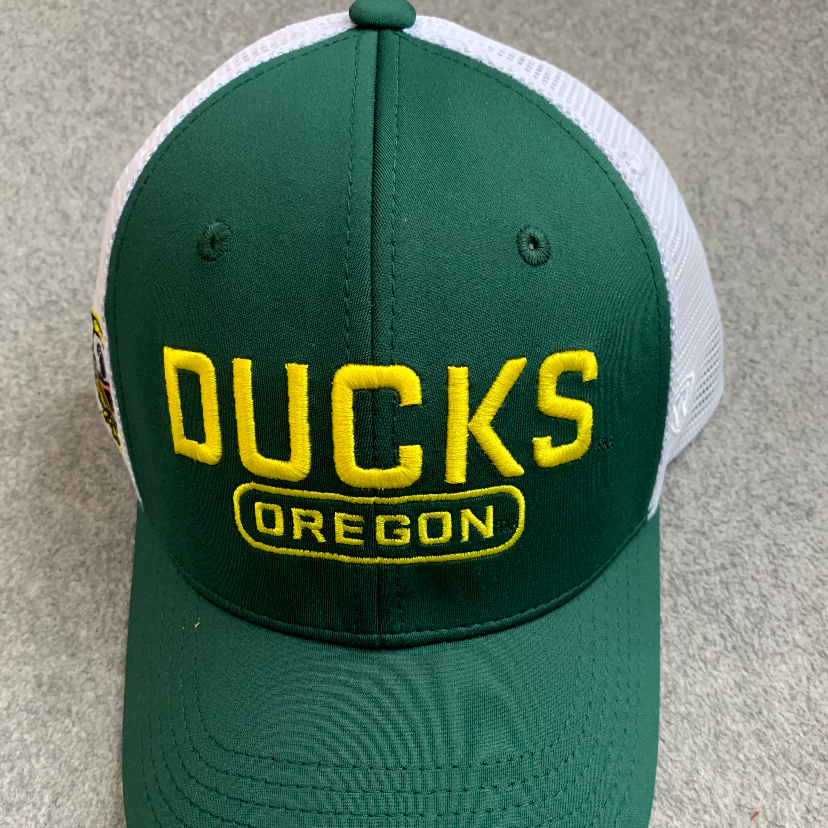 Oregon Ducks Ball Cap - Green & White w/ Yellow, Adjustable