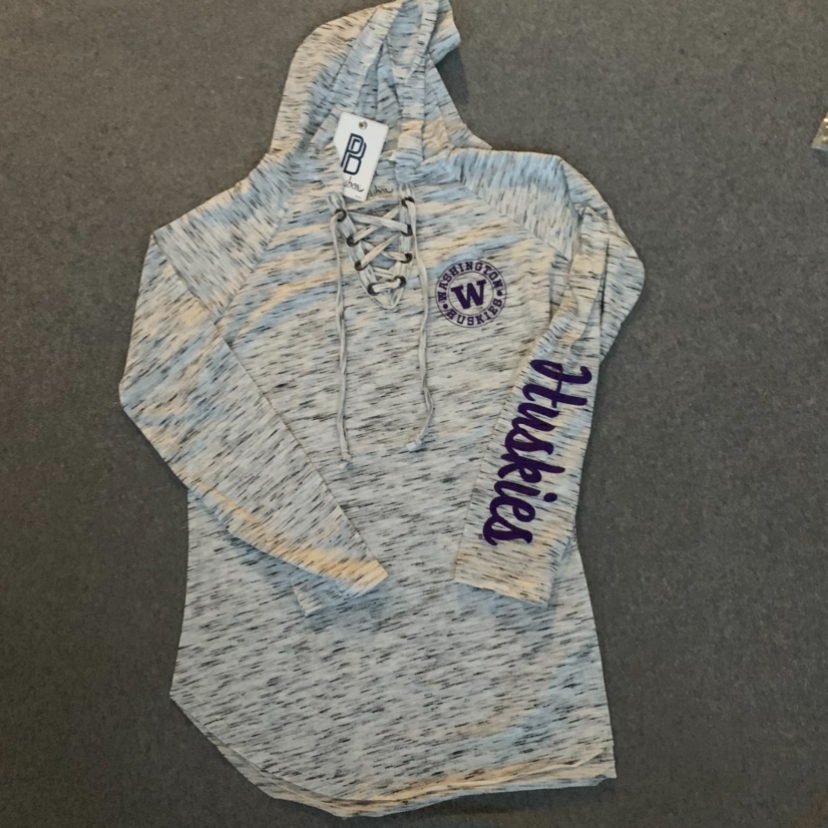 Women's UW Huskies Long Sleeve Hoodie - Grey w/ Purple