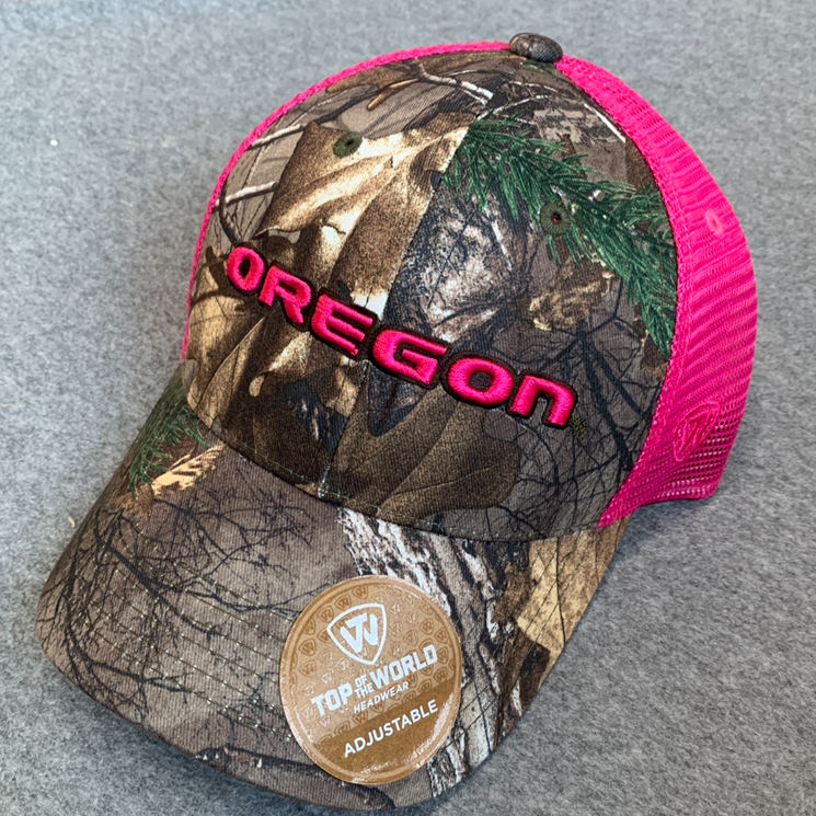 Women's SnapBack Oregon Ducks Ball Cap - Pink Mesh, Camouflage, Adjustable