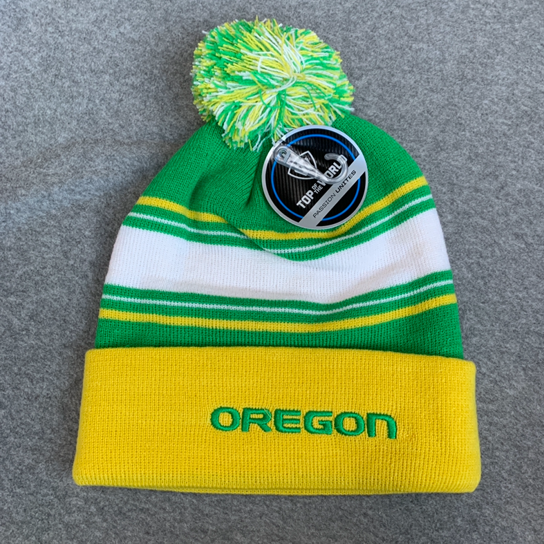 Oregon Ducks Pom Pom Beanie - Green, Yellow & White Striped