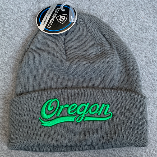 Oregon Ducks Knit Beanie Cap - Grey