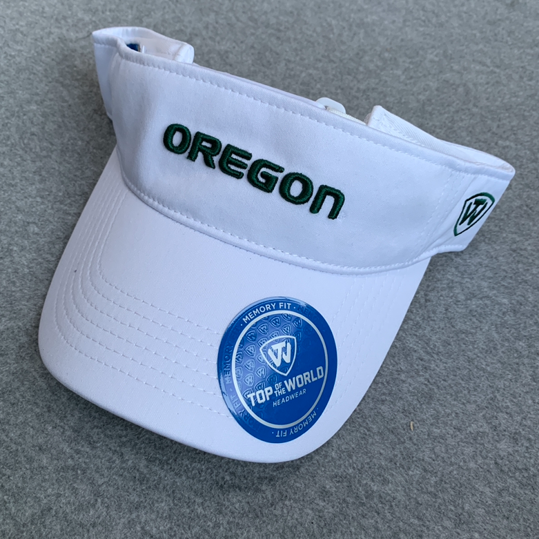 Oregon Ducks Visor Cap - White, Adjustable