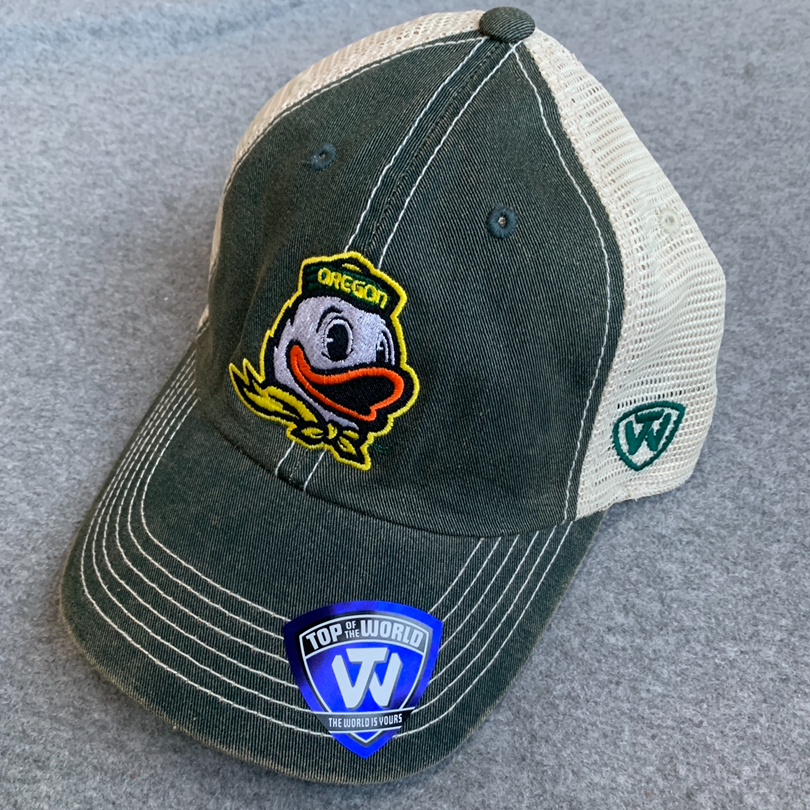 Oregon Ducks Vintage Style Ball Cap - Dark Green, Beige, Adjustable