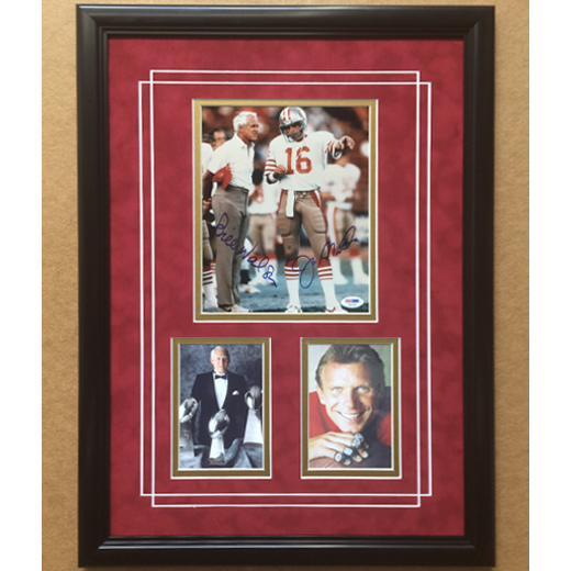 San Francisco 49ers Joe Montana & Bill Walsh Commemorative Photo Collage, Framed 8x10