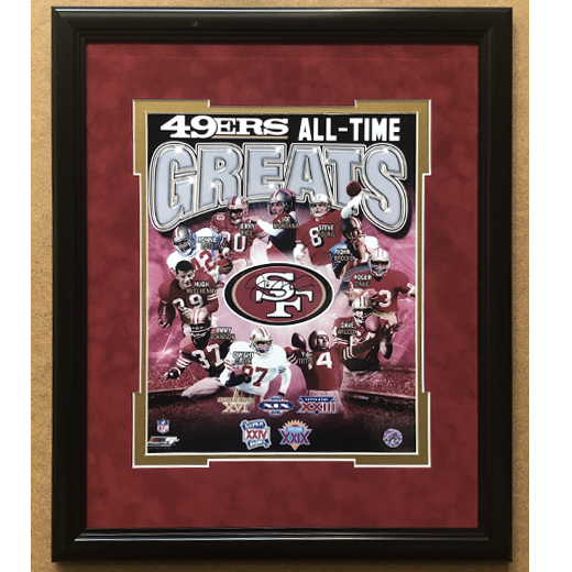 San Francisco '49ers All Time Greats,' with Reproduced Joe Montana Signature, Framed 11x14