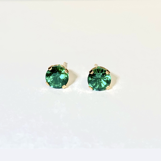 Round Lab-Created Emerald Studs in 14K Yellow Gold 4-Prong Settings