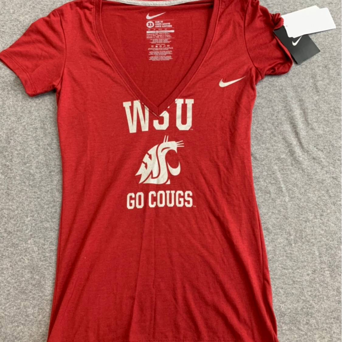 Nike WSU Crimson V-neck with Silver Lettering