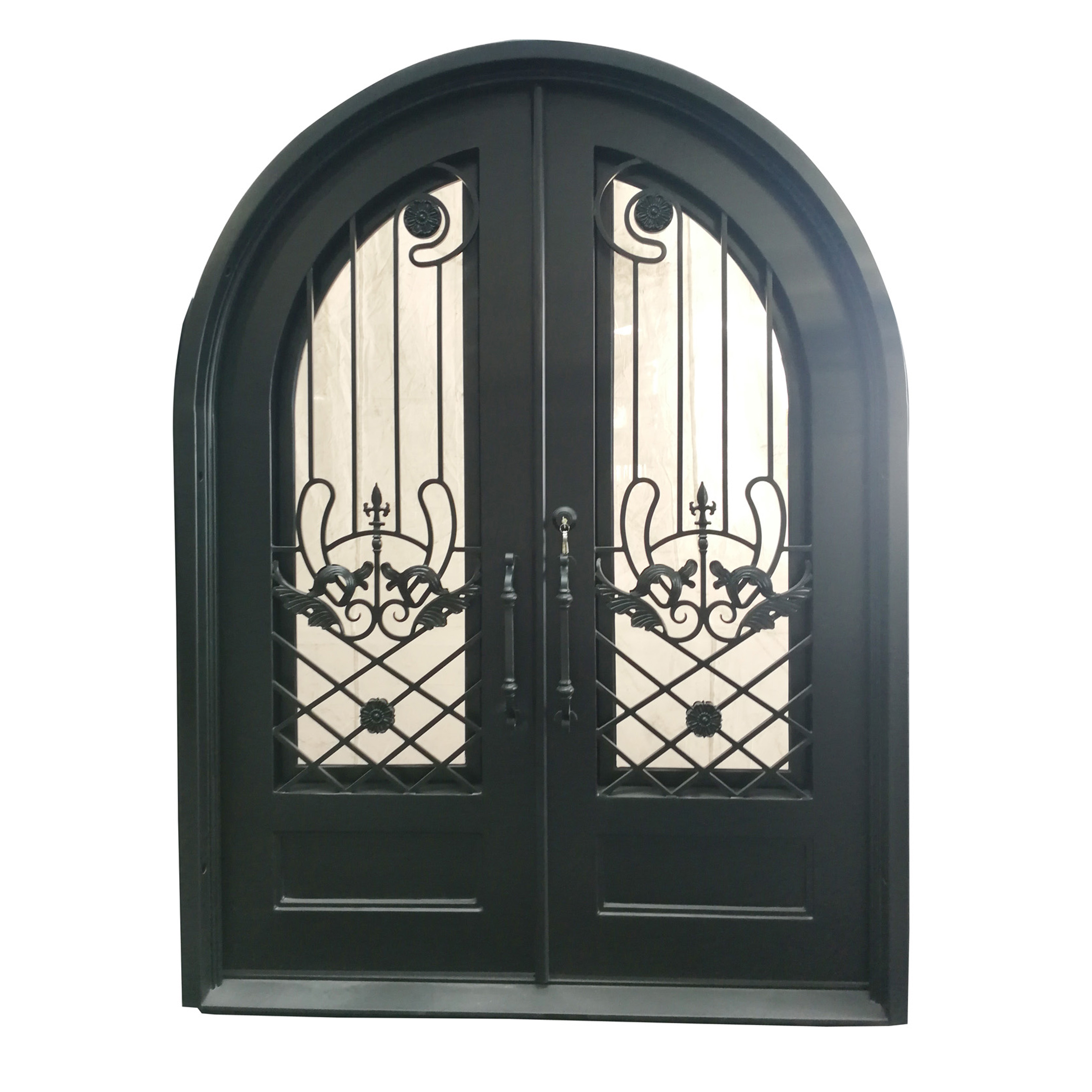Iron Dual Door Ornamental Design with Arched Frame and Threshold - 96 x 108 x 6 Inches - Matte Black