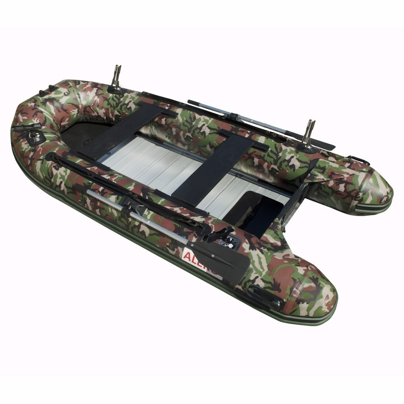 PRO Fishing Inflatable Boat with Aluminum Floor - Front Board Holders - 12.5 ft - Camouflage Style