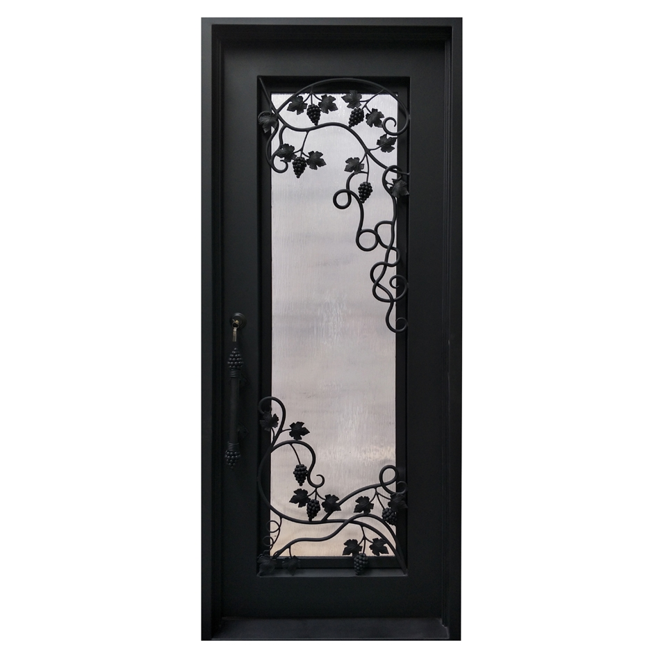 Iron Square Top Grapevine Door with Frame and Threshold - 40 x 96 Inches - Matte Black