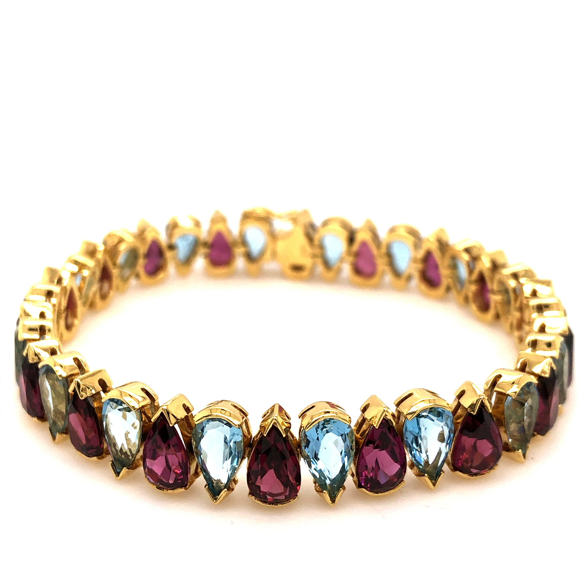 Vintage Aqua & Garnet Tennis Bracelet,18K Yellow Gold 36 Pear Shaped Gemstones