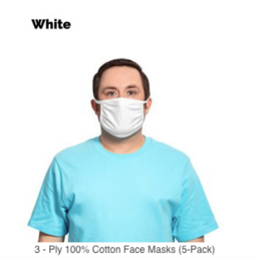 3 - PLY 100% COTTON FACE MASKS (5-PACK)