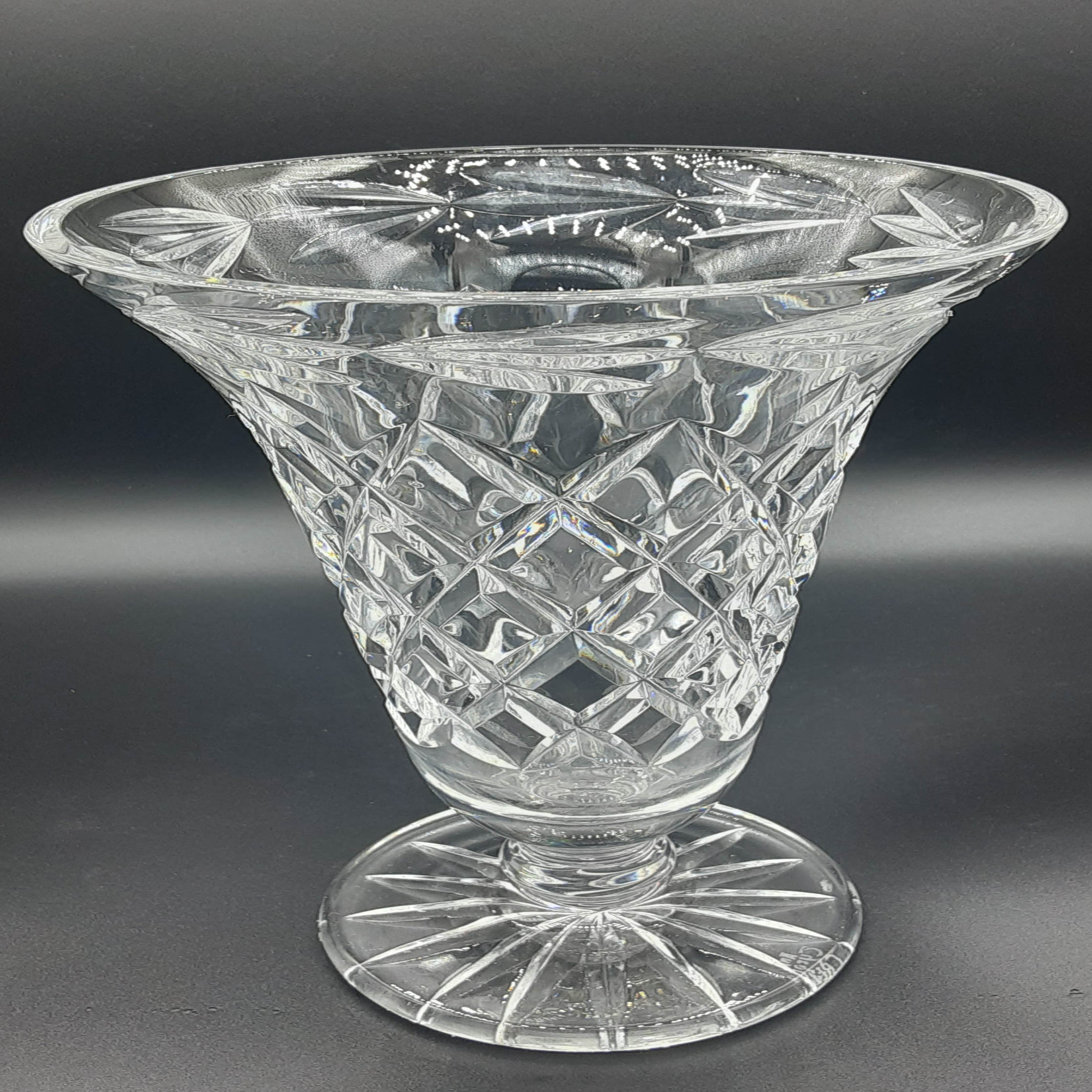 Tyrone Cut Crystal crystal flower vase - 8 inches tall