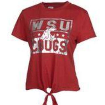 NWT WSU Cougars Metallic Tie Front T-Shirt