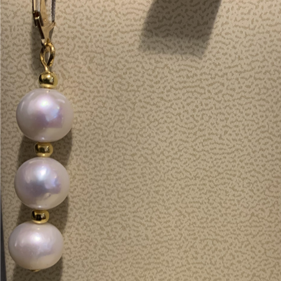 Triple Pearl Dangling Earrings