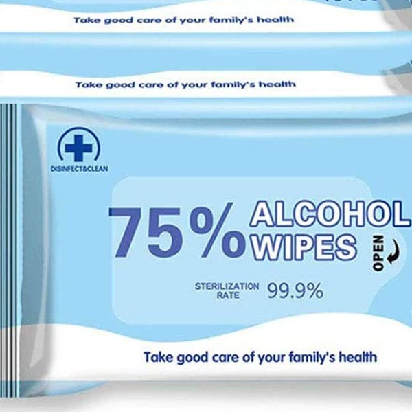 100 Individual Packaged Wipes, 75% alcohol