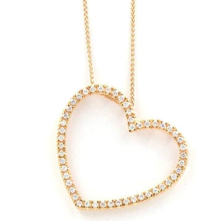 Diamond Heart Shaped Pendant 50 Round Brilliant Diamonds 0.62ctw 33mm Diameter 18K Rose Gold