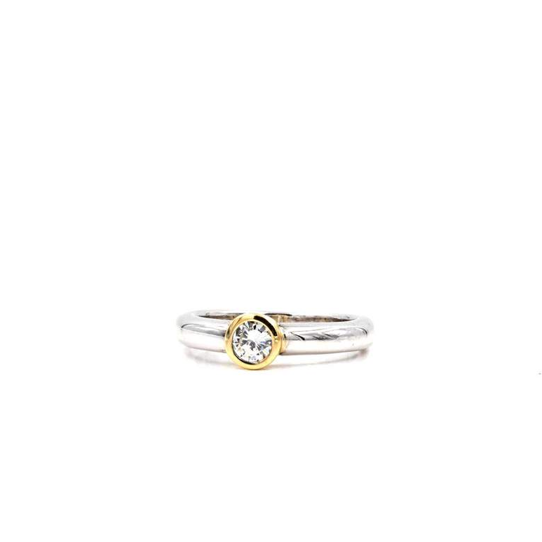 Diamond Bezel Set Ring with 1 Round Brilliant Cut Diamond 14K White Gold Yellow Gold Two Tone