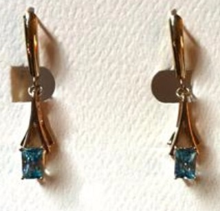 Gold Earrings with Natural Blue Zircons
