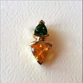 14k Gold, natural color Imperial Green Dioptase, Madeira Citrine pendant