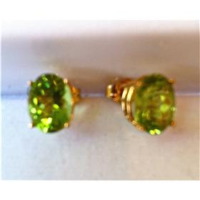14k Gold, natural Peridot stud earrings