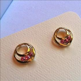 14k Gold, natural unheated Pink Malawi Sapphire earring (posts)