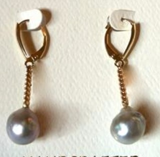 Sea of Dreams 14k Gold Earrings with Natural Cortez Pearls