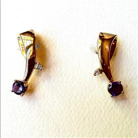 14k Gold Earrings with Amethyst & Diamonds