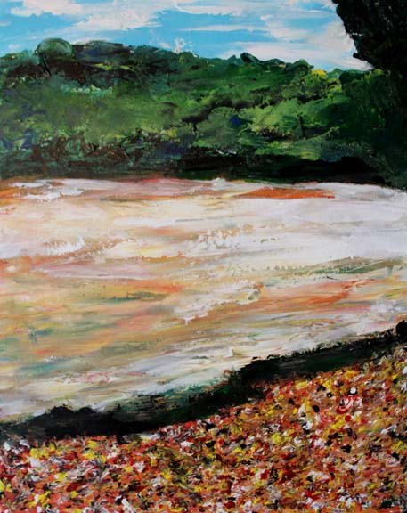 """Autumn Leaves By The Riverside"" Original Seaside Painting"