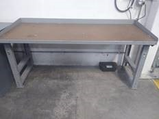 Industrial Metal Work Bench with Wood Top