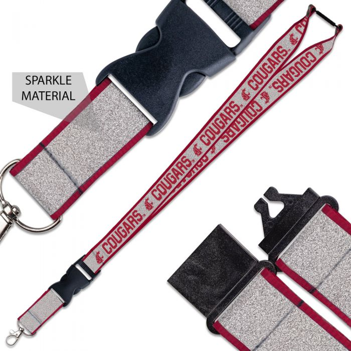WASHINGTON STATE COUGARS LANYARD W/BUCKLE GLITTER 1""