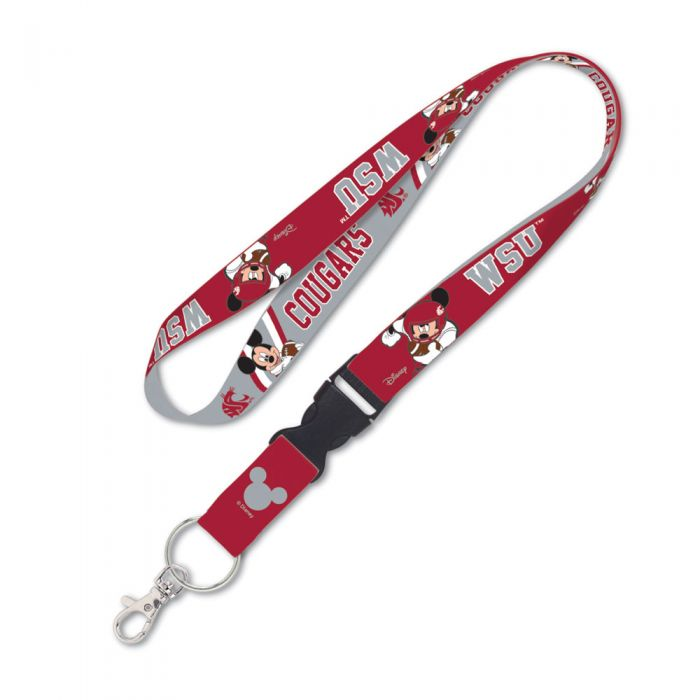 WASHINGTON STATE COUGARS / DISNEY MICKEY MOUSE FOOTBALL LANYARD W/DETACHABLE BUCKLE 1""