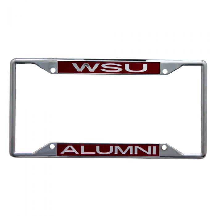 WASHINGTON STATE COUGARS LIC PLT FRAME S/S METALLIC