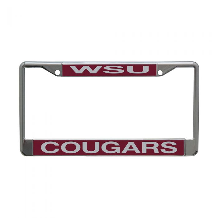 WASHINGTON STATE COUGARS LIC PLT FRAME S/L METALLIC