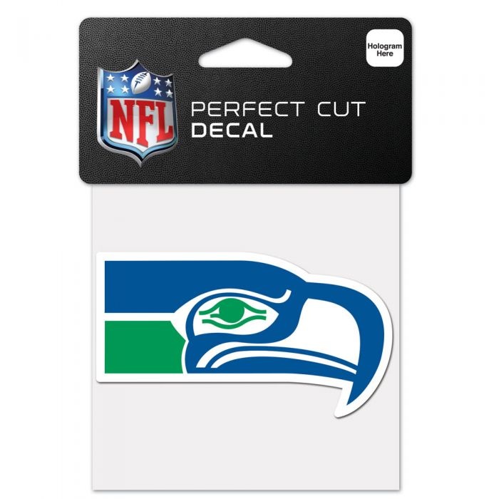 "SEATTLE SEAHAWKS / CLASSIC LOGO RETRO DESIGN PERFECT CUT COLOR DECAL 4"" X 4"""